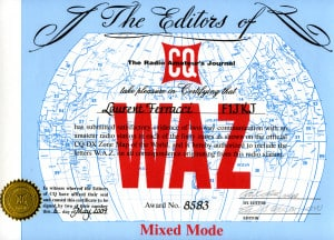 Le diplôme WAZ que j'ai reçu !
